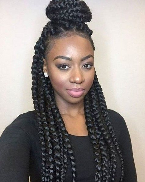 Stylish box braids african american braided updo hairstyle African American Braiding Hairstyles