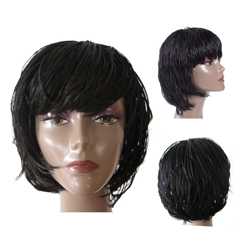 Awesome wigs for black women braided short micro box braid hair wigs for african americans African American Micro Braid Wigs Ideas