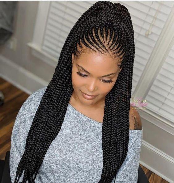 Fresh feed in braids ponytail africanbraids braiding African Hair Styles Braids Inspirations