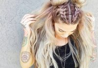 Elegant trend watch mohawk braid into top knot half up hairstyles Top Braid Hairstyles For Ideas