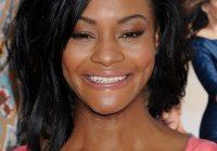 Stylish african american medium layered hairstyle with bangs from African American Layered Hairstyles With Bangs