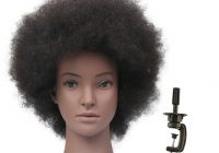 Stylish us 3989 49 offblack female mannequin head with human hair african american hair styling doll head for hairstyle hairdressing head model African American Hair Styling Doll Head Ideas